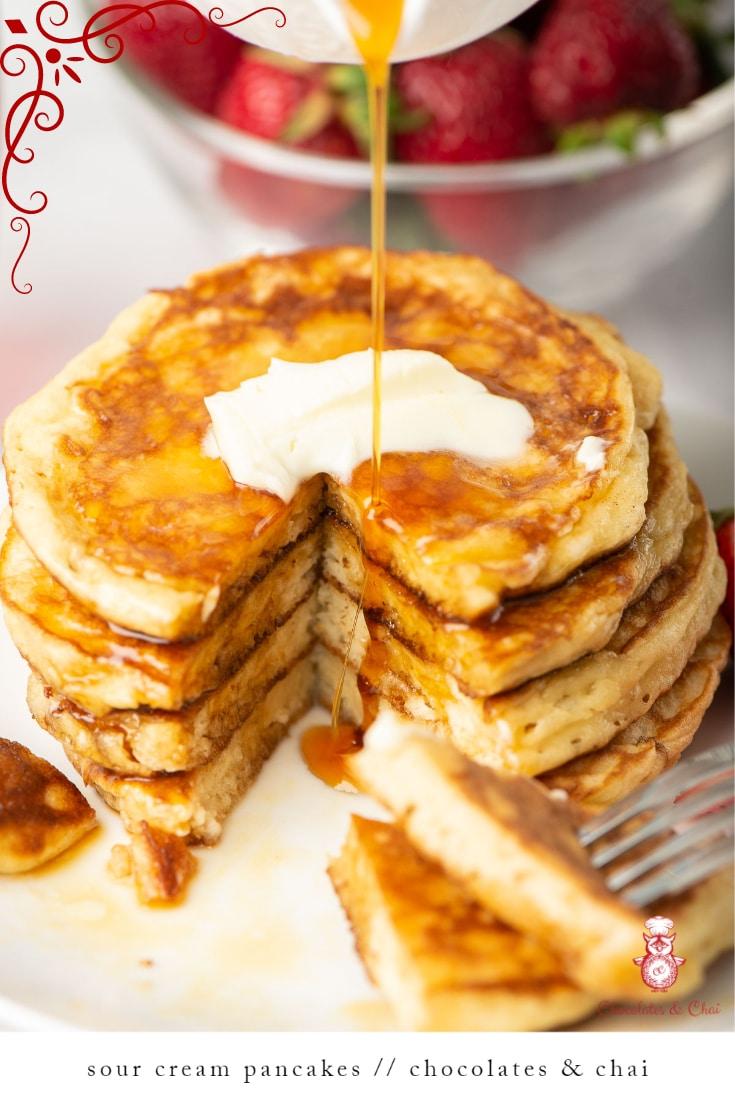 Sour Cream Pancakes Recipe In 2020 Sour Cream Pancakes Tasty Pancakes Waffle Recipes