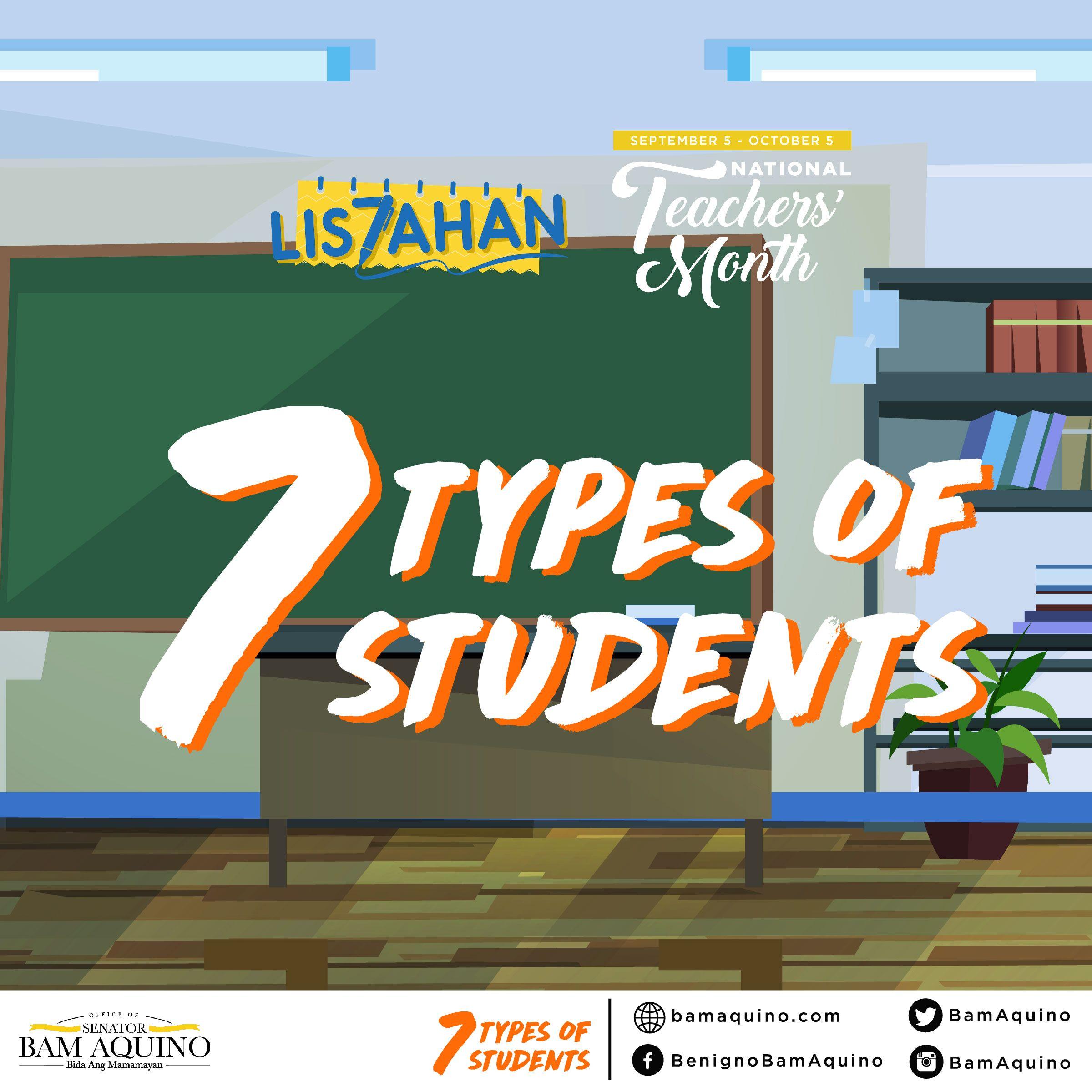 Student By Senator Bam Aquino On 7 Types Of Students