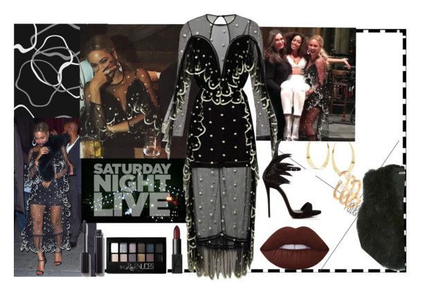 """BEYONCÉ LOOK SATURNAY NIGHT LIFE"" by staydiva on Polyvore featuring moda, Lana, Hueb, Lime Crime, Chanel, Maybelline, NARS Cosmetics, Giuseppe Zanotti y Cacharel"