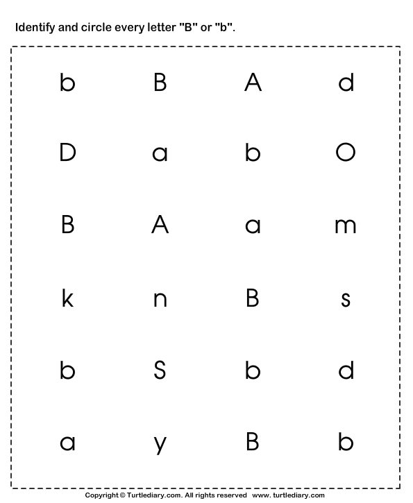 Download and print Turtle Diarys Identifying Lowercase and – Letter B Worksheets