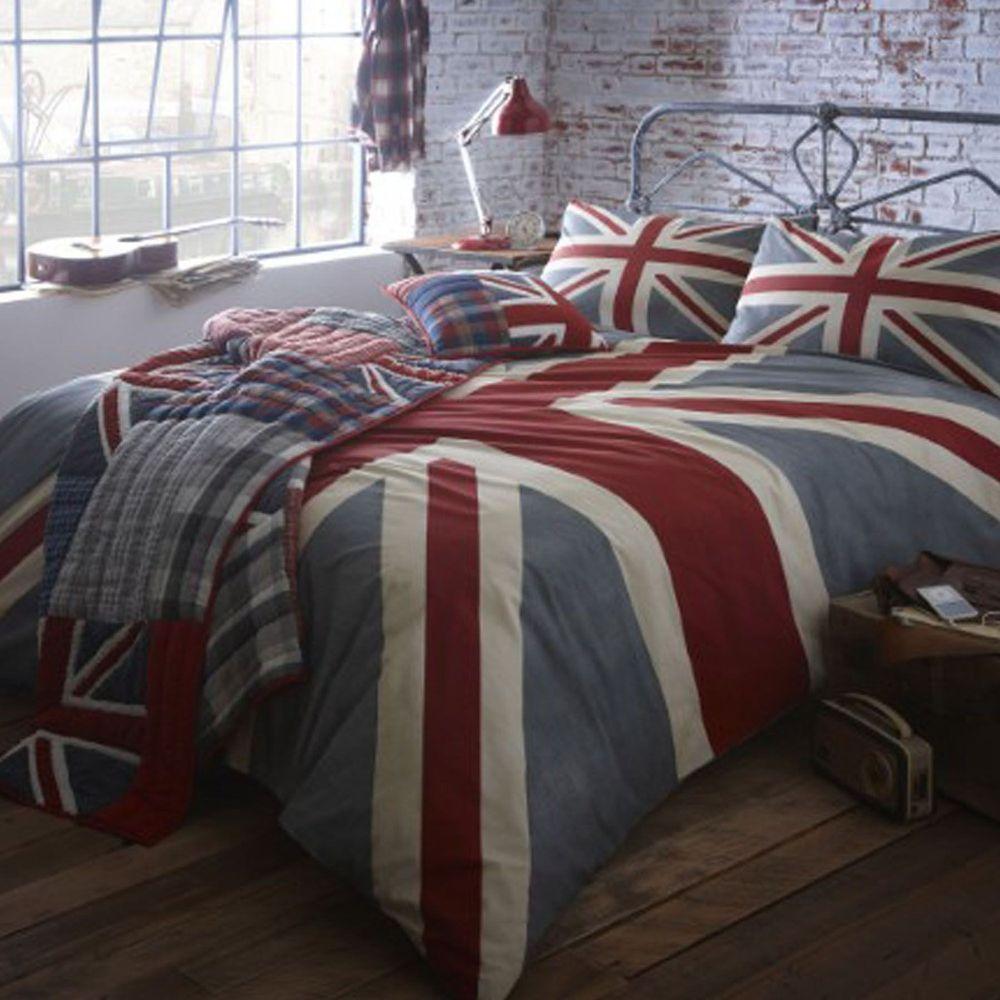 details about home collection grey vintage union jack bedding set rh pinterest com
