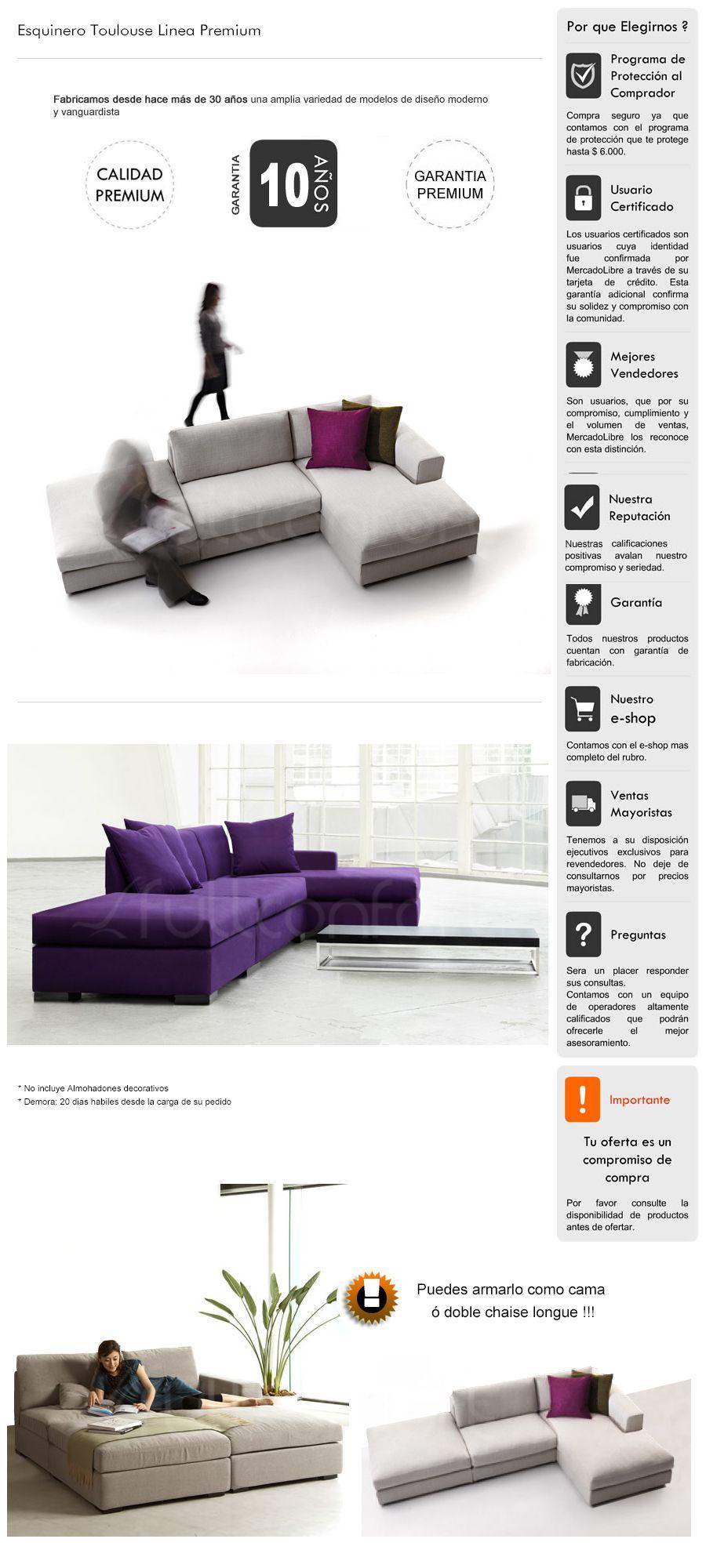 Sillon Sofa Esquinero Premium Convertible Cama Living