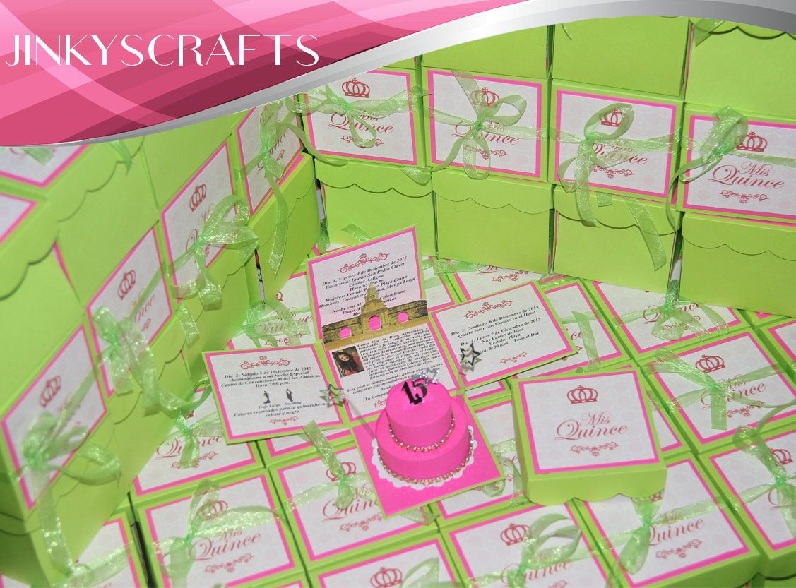 cinderellthemed wedding scroll invitations%0A MInt Green and Pink Exploding Box Invitations Pop up Invitations for Mis  Quince Quinceanera  Can be customized for Bat Mitzvah  Birthday  or Weddings