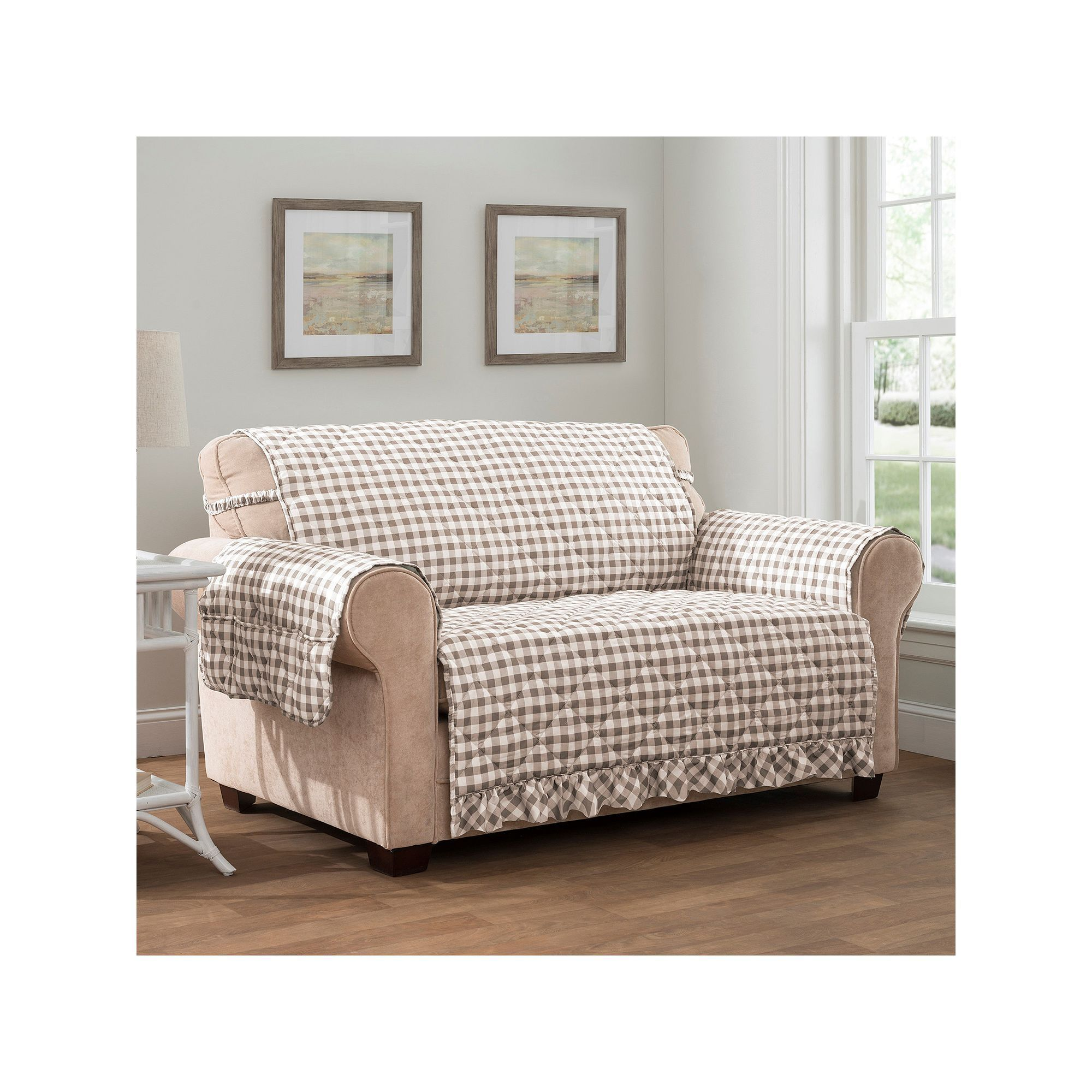 Innovative Textile Solutions Gingham Loveseat Slipcover White