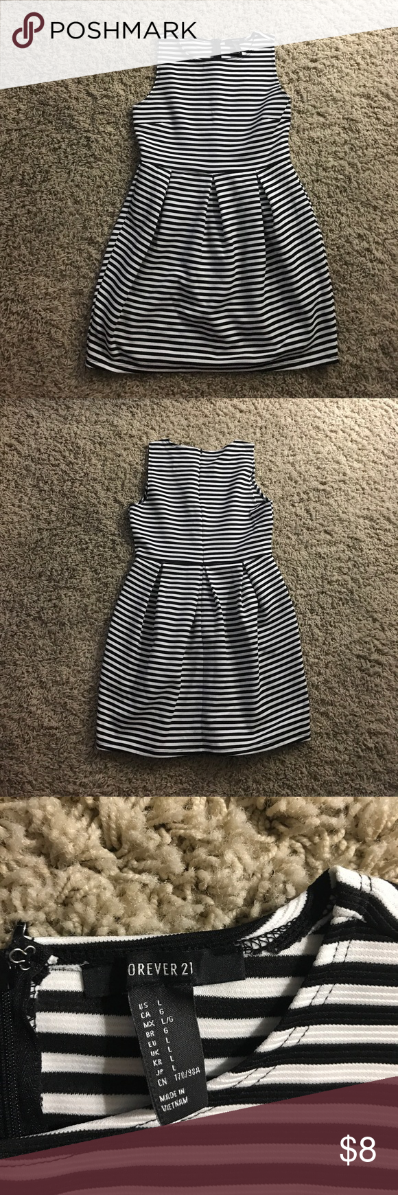 EUC striped black white dress Black white dress, Dresses
