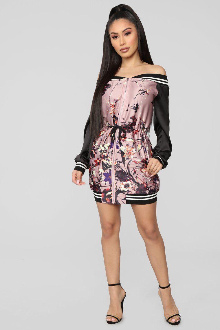 Blossom Me Up Mini Dress Pink/Black Dresses, Pink