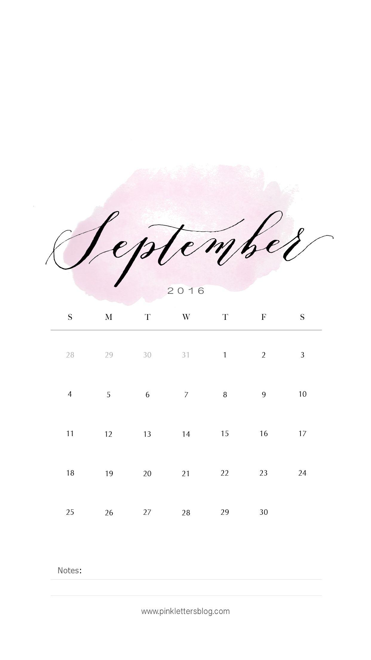 September 2016 Calendar Lockscreen Wallpaper Mobile