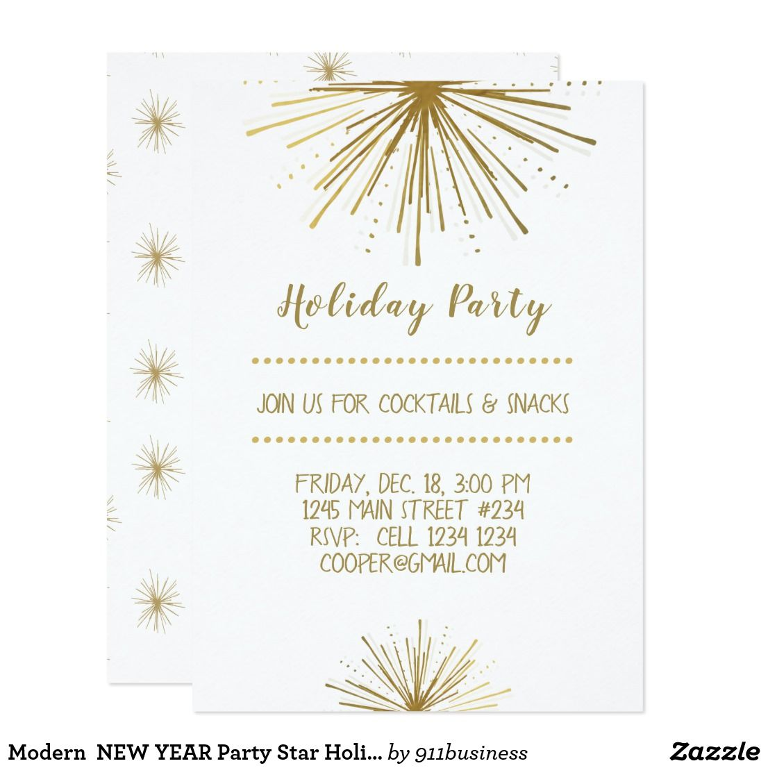 Modern NEW YEAR Party Star Holiday Party Invitation