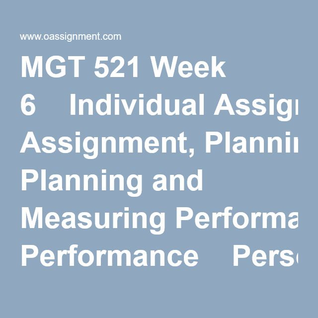 Mgt  Week  Individual Assignment Planning And Measuring