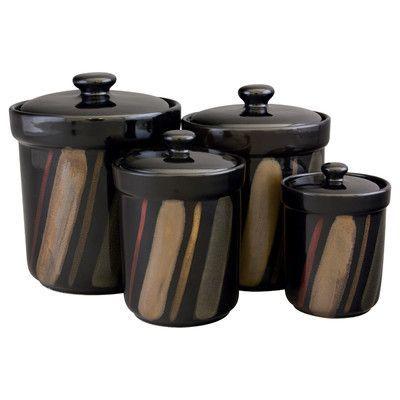 sango 4 piece avanti canister set color black products rh pinterest com