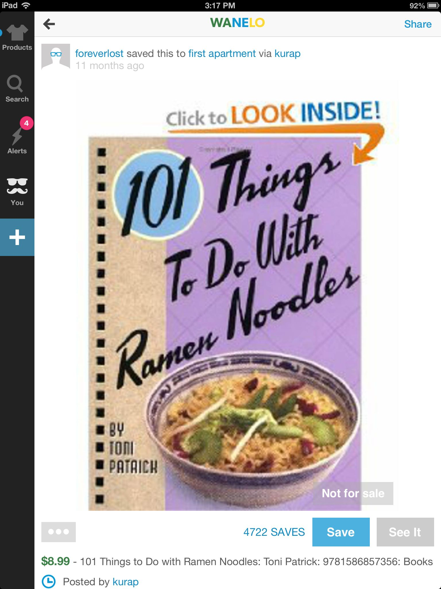 101 Things to Do with Ramen Noodles by Toni Patrick- Great gift for a  college student