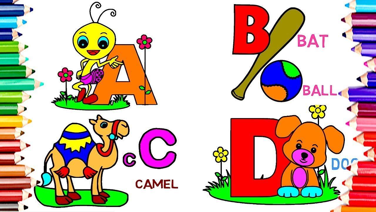 1 Hour Teach Children Draw Alphabet Abc Coloring Book Kids Learn Eng Kids Coloring Books Abc Coloring Teaching Kids