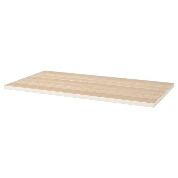 Linnmon Tafelblad Wit Wit Gelazuurd Eikeneffect 150x75 Cm Ikea In 2020 Ikea White Stain Linnmon Table Top