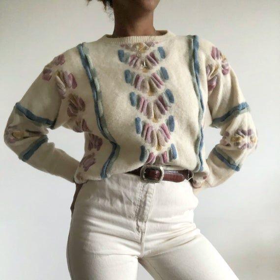 Vintage 80s Knit Jumper, Cream Knit Jumper With Pastel Pattern, Vintage Chunky Knit Jumper, Wool Knit Jumper.