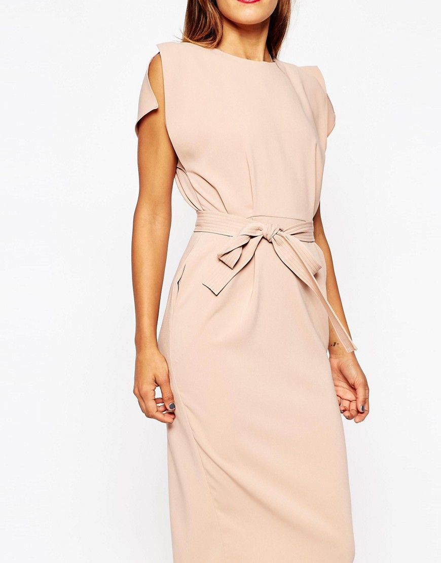 458b9b0d08 Image 3 of ASOS Belted Midi Dress with Split Cap Sleeve and Pencil Skirt