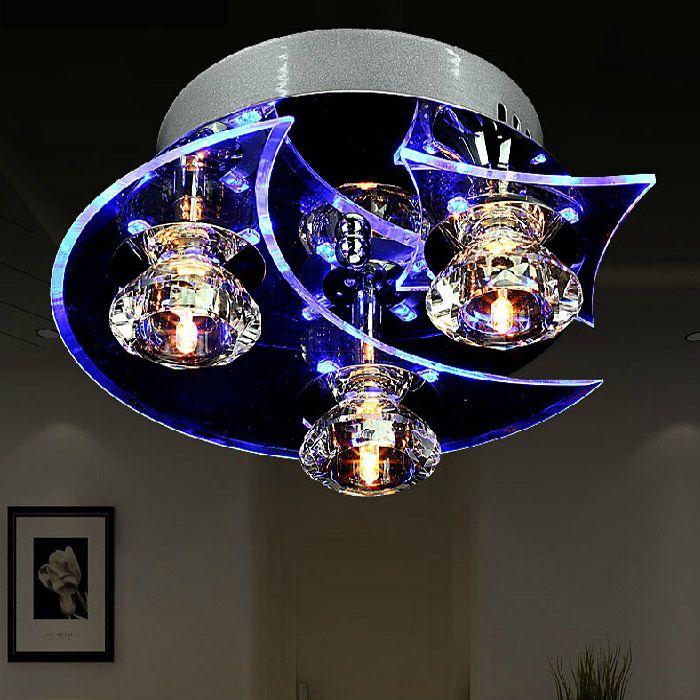 entrep t ue plafonnier moderne mode trois t tes quatre t tes rond cristal lampe de plafond. Black Bedroom Furniture Sets. Home Design Ideas