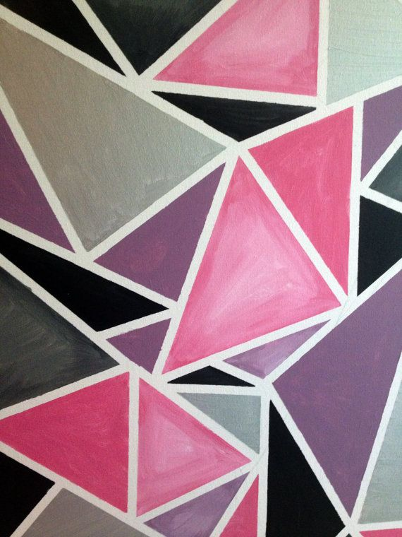 Popular Items For Geometric Painting On Etsy Geometric Painting Geometric Pattern Fabric Painting