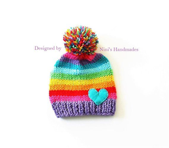 25c0329a073 Chunky Knit Purple start Rainbow with Heart Pom Pom Hat