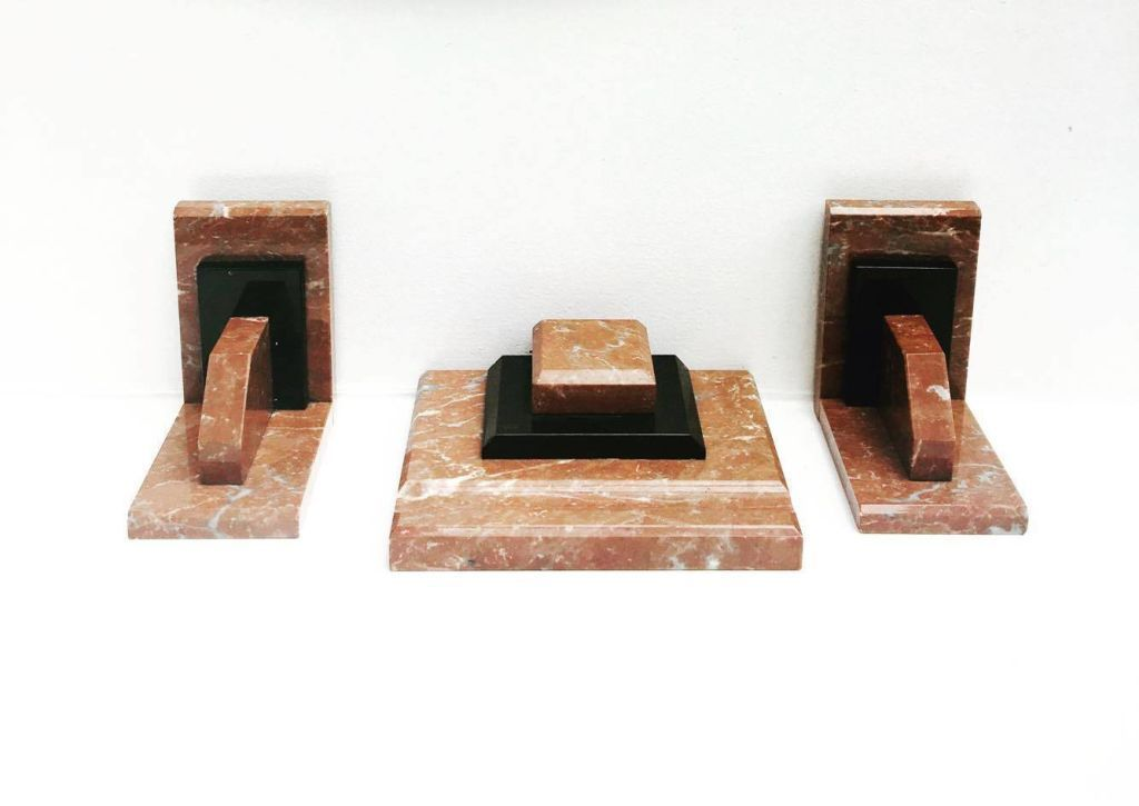 art deco bookends desk set inkwell 1930 marble black and brown rh in pinterest com