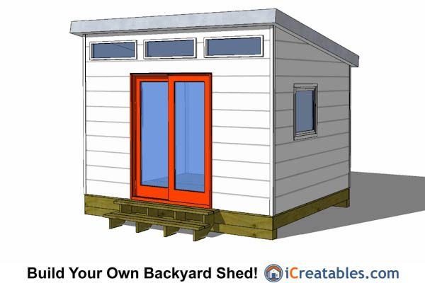10x12 modern shed with door in the center