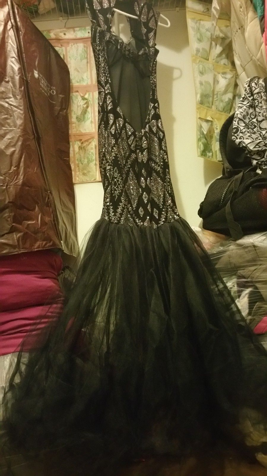 Nice great hot black mermaid prom dresses backless lace applique