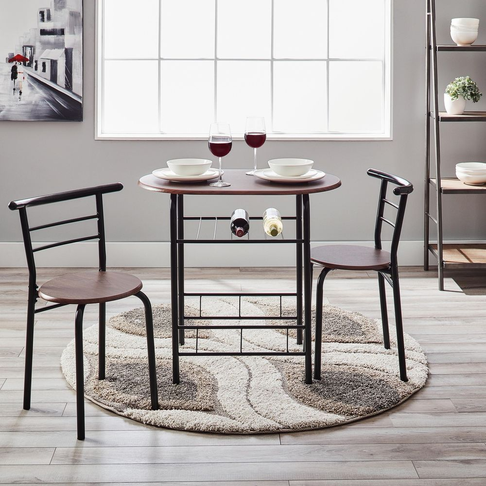 Round Dining Set Small Spaces Dorm Room 3 Pc Kitchen Table Chairs Amazing Kitchen Table Chairs Decorating Inspiration
