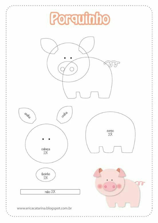 Molde cerdito | Craft Ideas | Pinterest | Cerdo, Molde y Fieltro