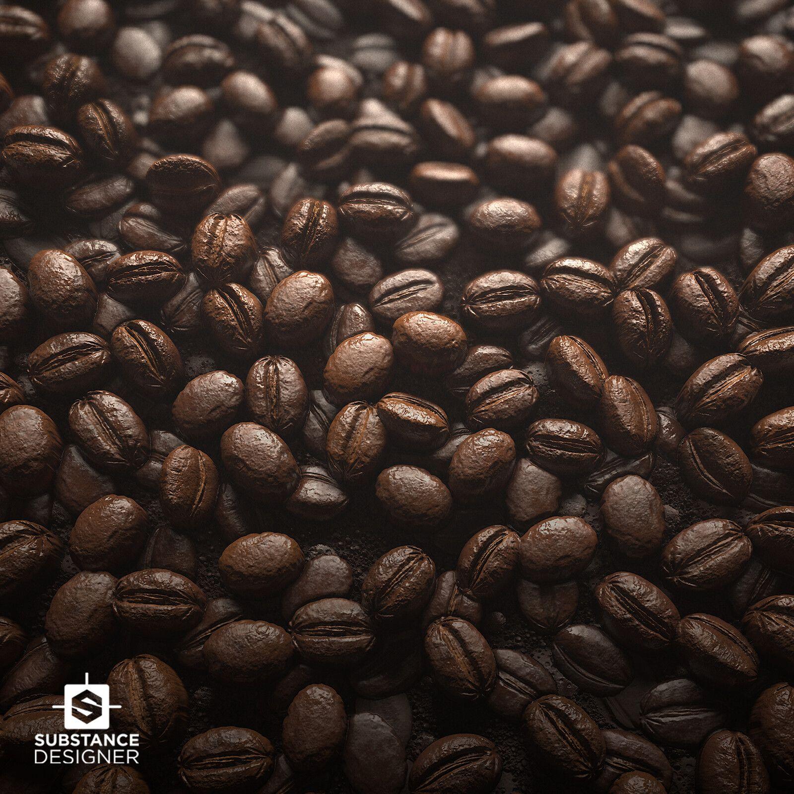 Coffee Bean Material, Peyton Varney on ArtStation at https