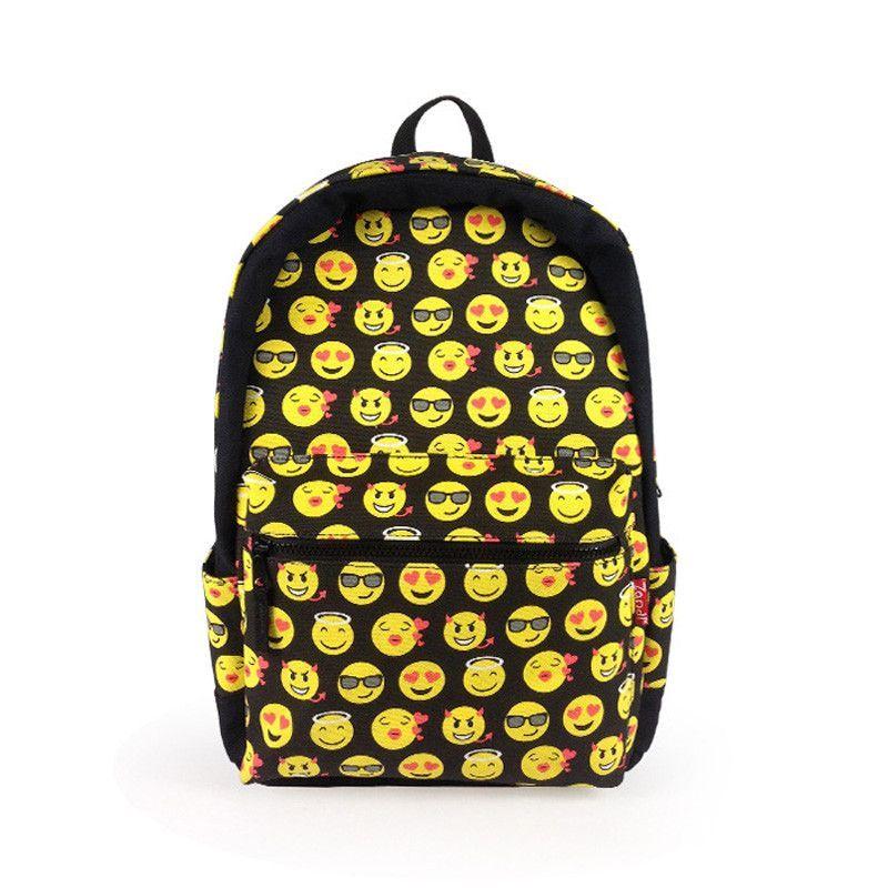 Cartoon Smiley Emoji Face Printed Students School Bag Shoulder ...