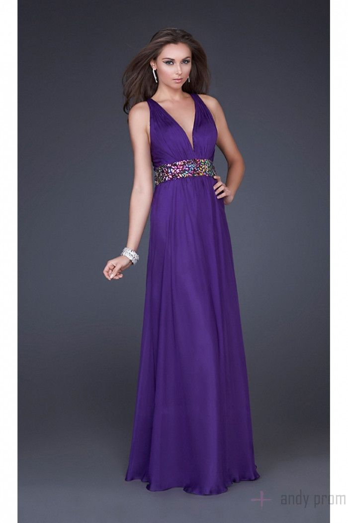 Floor Length Belt Purple Criss Cross Back Tencel Prom Dress   Girls ...