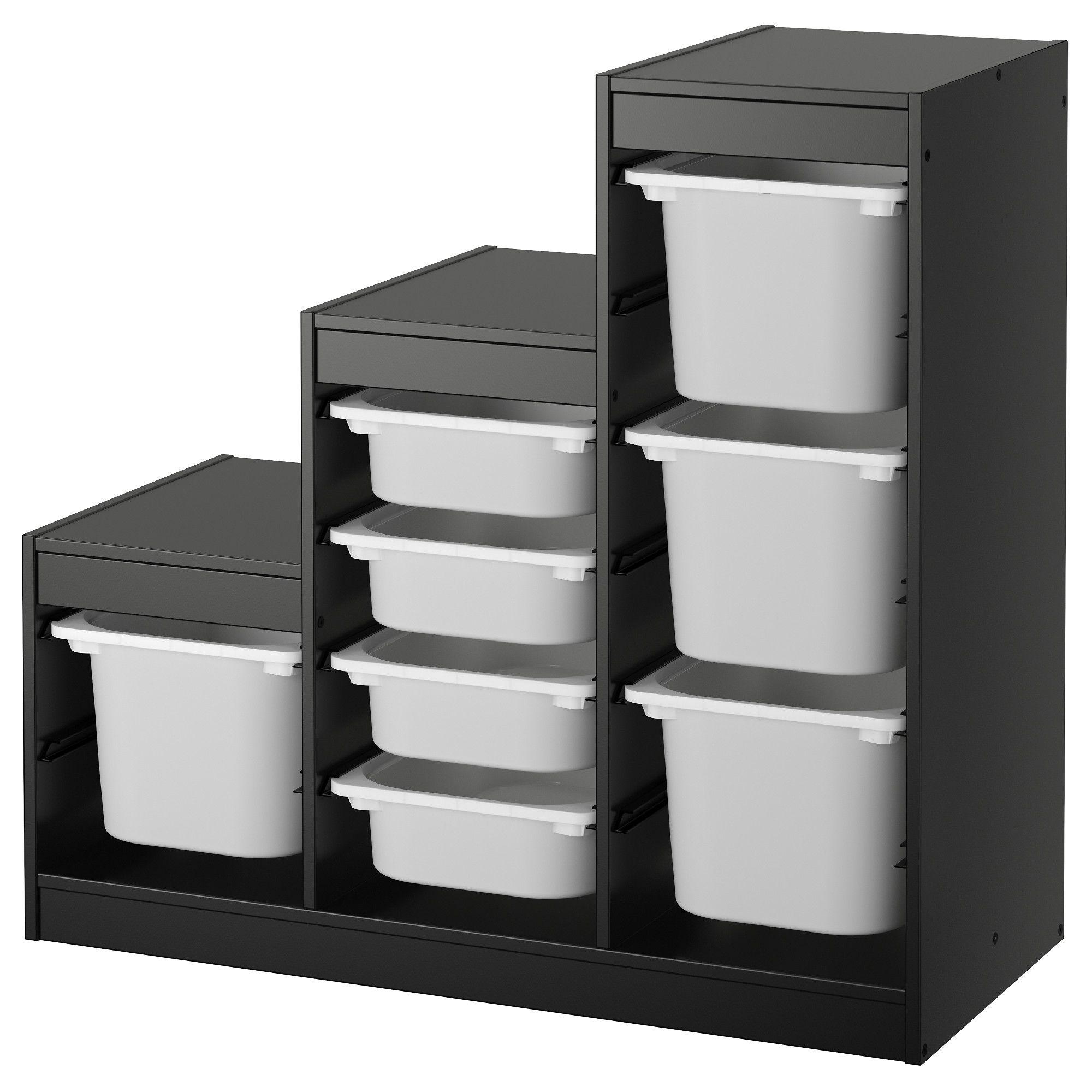 "TROFAST Storage combination - black, white 39x17 3/8x37 "" (With images)   Kids storage furniture ..."