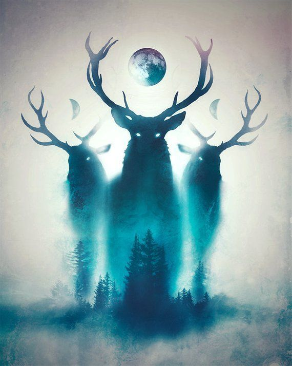 Photo of Deer Print | Deer Painting | Antlers Print | Antlers Painting | Forest Art Print | Moon Print | Moon Phases Print | Deer Antlers Painting