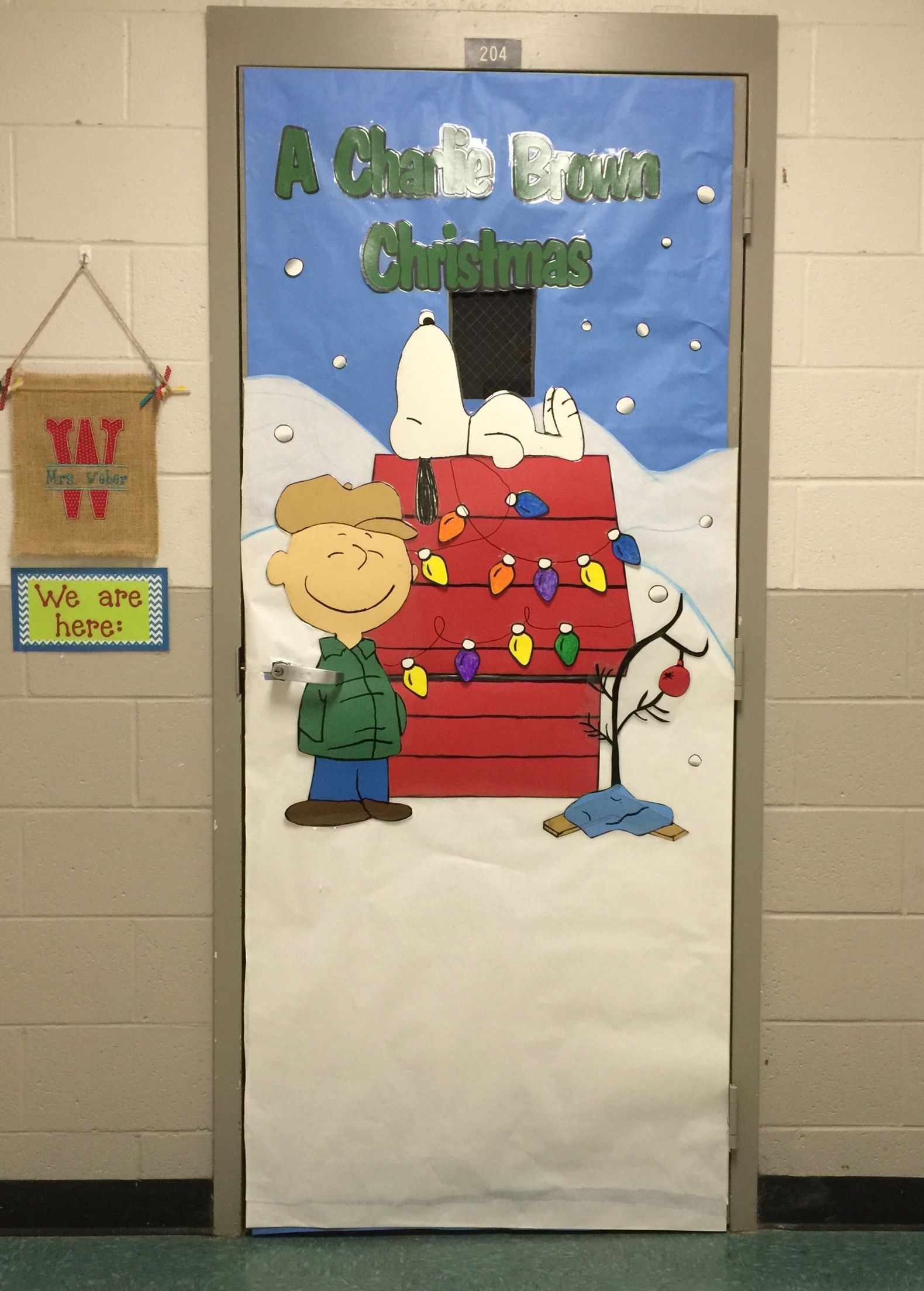 A Charlie Brown Christmas classroom door cover  Christmas