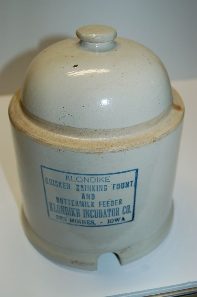 Rare Red Wing Chicken Waterer Feeder, Union Stoneware Co. Klondike Incubator Co.