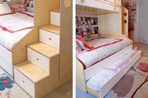 Large Bedroom Furniture Set for Girls with Bunk Bed with Trundle | Furnikidz.com | Best Children Furniture Design