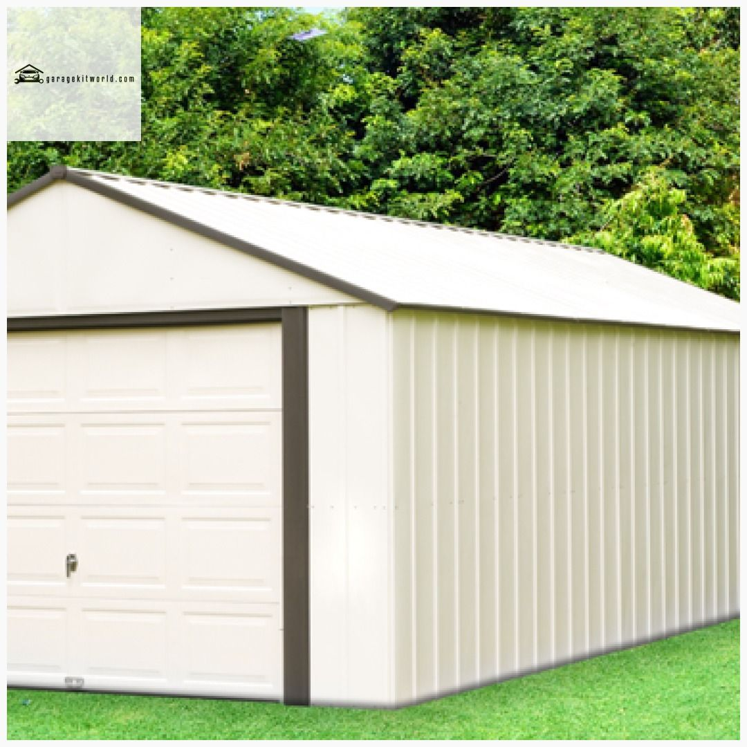 Murryhill 14 X 31 Ft Coffee Almond Steel Storage Shed Garage Carportkits Carportdesign Garagekit Garage Door Styles Carport Designs Steel Storage Sheds