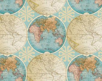 Vintage globes cotton fabric by the yarddavid textilesfree vintage globes cotton fabric by the yarddavid textilesfree shipping availablemap gumiabroncs Image collections
