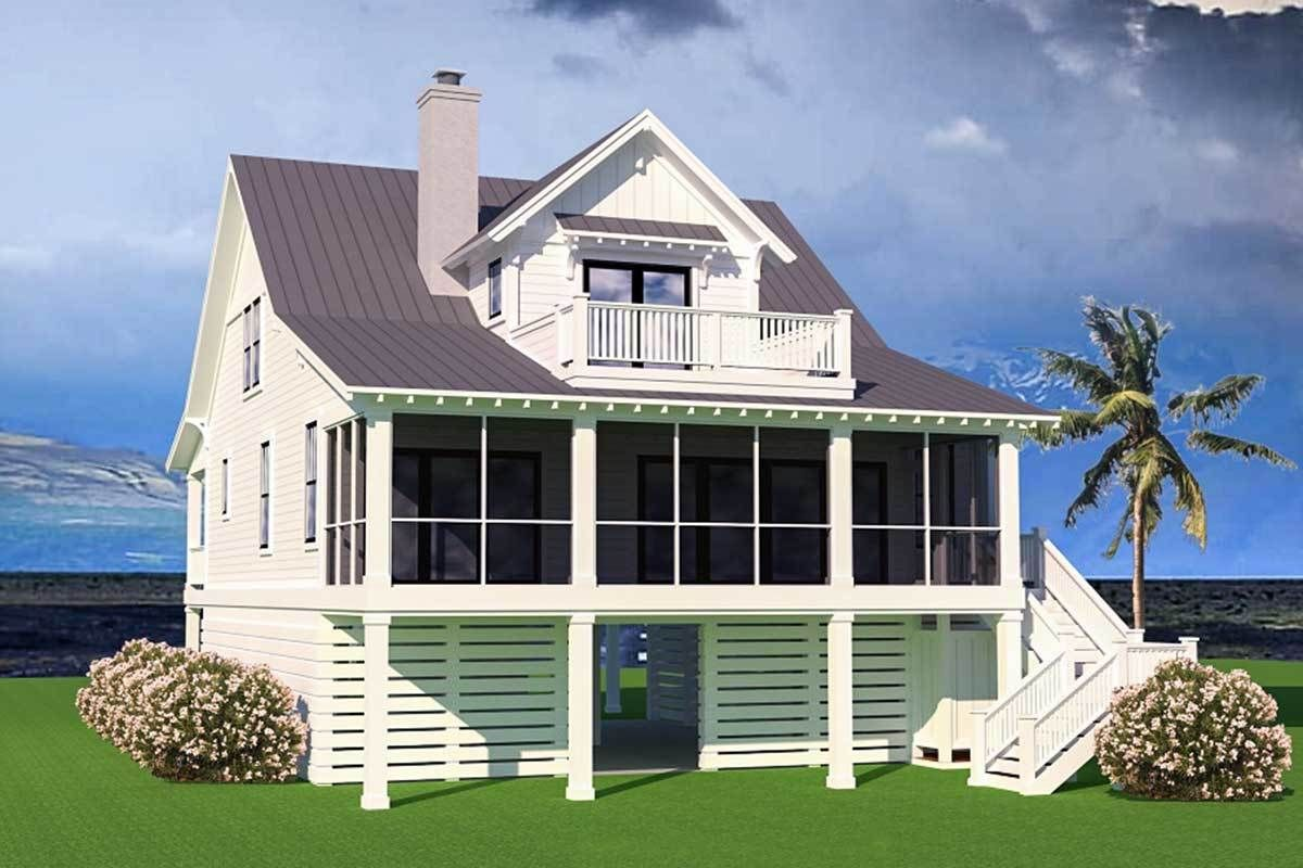 Plan 15252nc Stunning Coastal House Plan With Front And Back Porches Coastal House Plans Beach Cottage House Plans Elevated House Plans