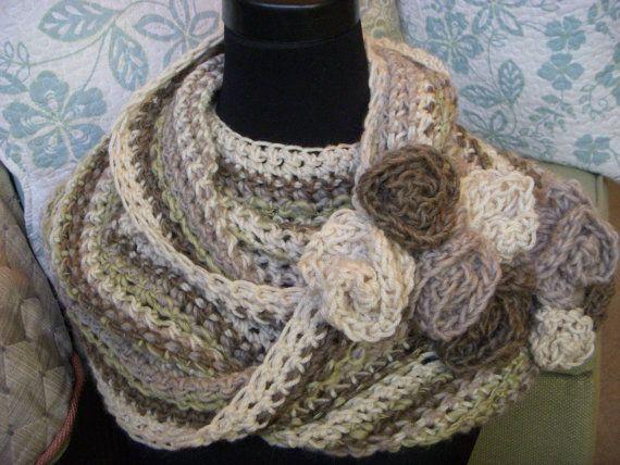 striped infinity scarf  multicolored statement cowl  cream mushroom sage neck warmer crochet
