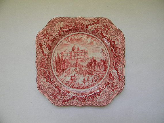 Johnson Brothers, HISTORIC AMERICA Red Luncheon Plate | Johnson ...