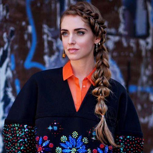 Good Hairstyle: Chiara Ferragni in intricate braided headband into side bubble #braid. #braids #hair