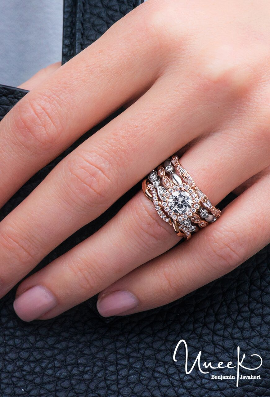 Our first-ever stackable wedding band bridal sets. Round Diamond ...