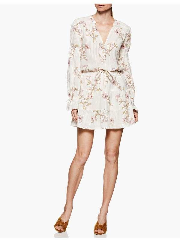 Paige Paige Yardley Dress White Mauve Shadows Poppy Dresses Cute Dresses Long Sleeve Mini Dress