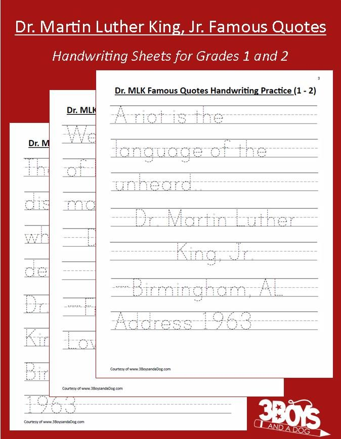 Printable Worksheets free blank handwriting worksheets : Black History: MLK Handwriting Worksheets (grades 1-2 ...