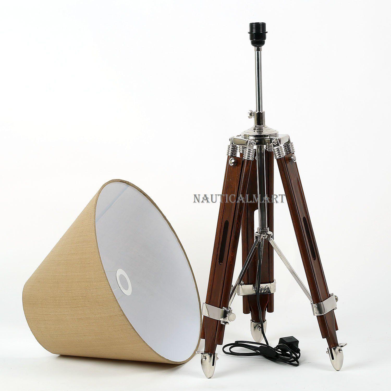 Handwoven Fabric Brown Shade Dark Brown Wooden Tripod Floor Lamp By Nauticalmart Amazon Co Uk
