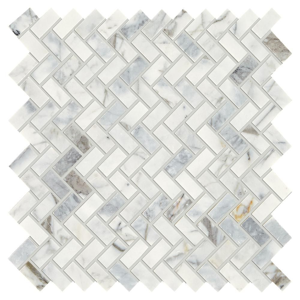 Daltile Stone Decor Fog 11 in. x 12 in. x 10 mm Marble Mosaic Tile ...