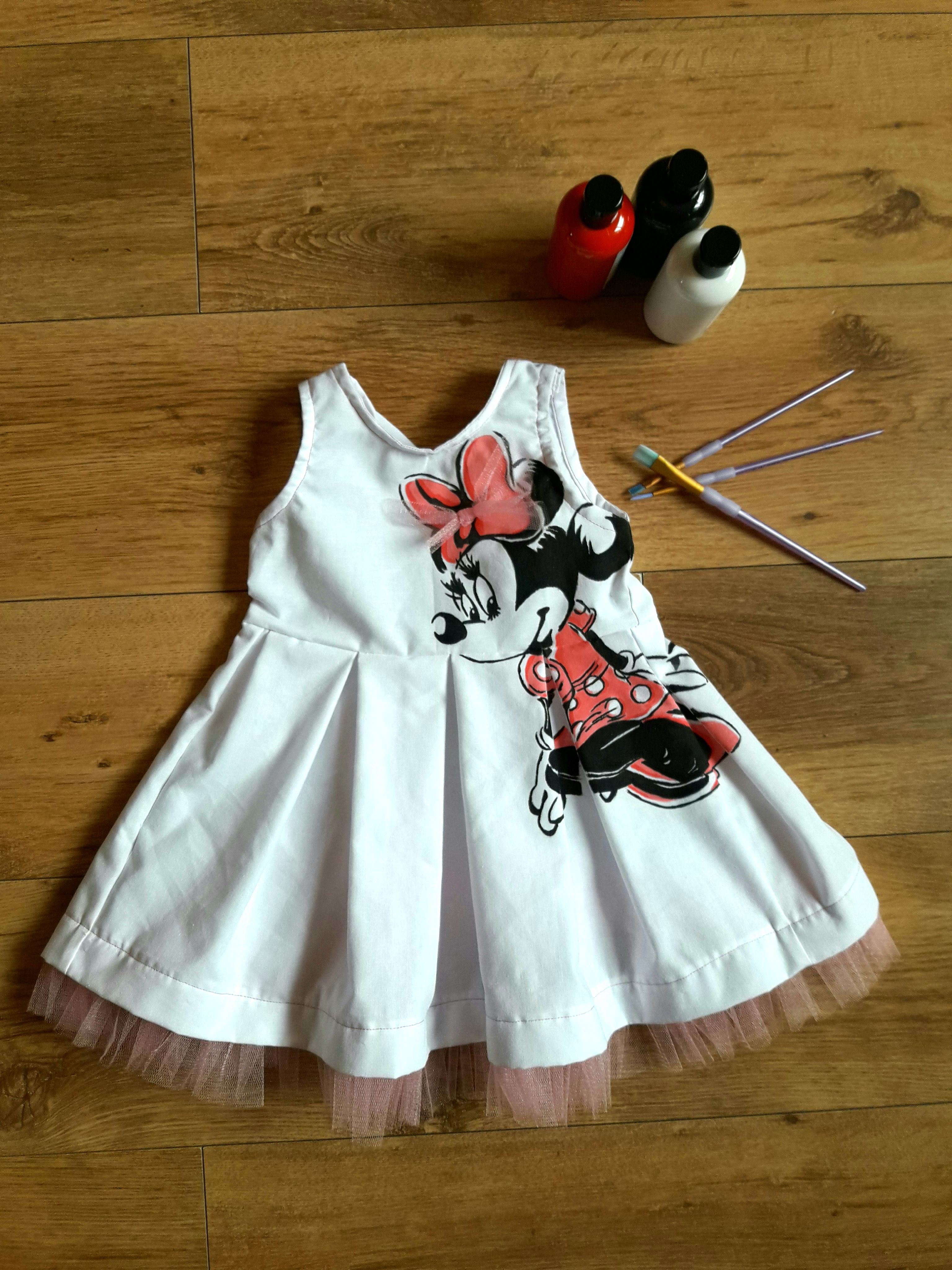 c86d1d644 Handmade Minnie Mouse dress with permanent paints. Any character ...