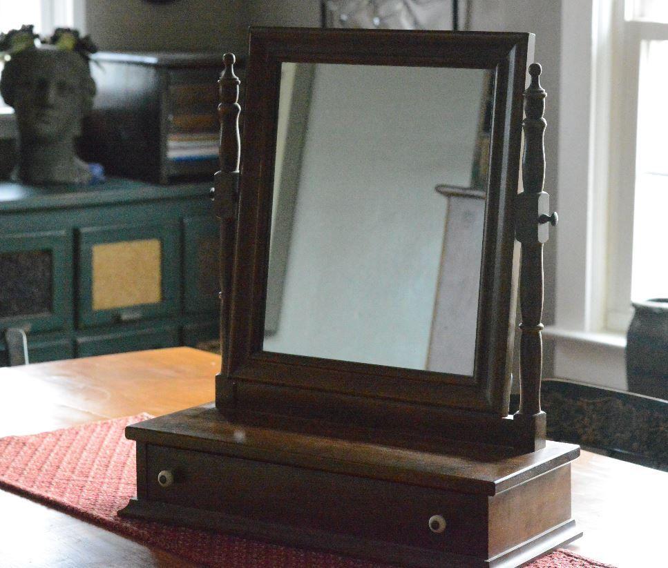 Nice Gentlemanu0027s Shaving Mirror, Table Top Mirror And Drawer. Vanity Mirror By  CakeBatterFinds On Etsy