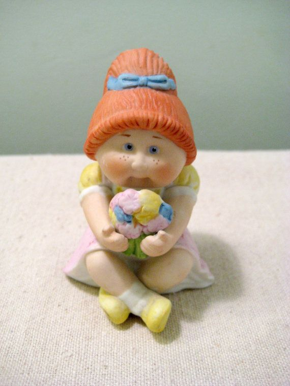 Vintage Ceramic Cabbage Patch Kid Girl With Flowers For Sale On Etsy Figurine Figure Statu Cabbage Patch Babies Cabbage Patch Kids Dolls Cabbage Patch Kids
