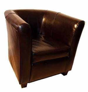 groucho club tub chair in italian dark chocolate brown leather